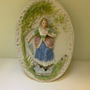 Lady with Umbrella Bisque Wall Plaque